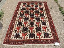 5x8ft. Amazing Persian Afghan Bird and Animal Wool Area Rug