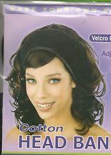 Annie Algodón Head Band Ajustable Velcro Cierre Negro