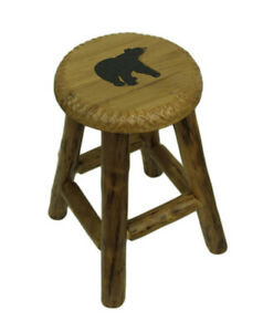 Zeckos Rustic Handcrafted Wooden Carved Bear Bar Stool 24 in.