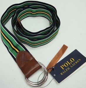 NWT $75 POLO RALPH LAUREN Mens Grosgrain Leather Belt Green Yellow Navy