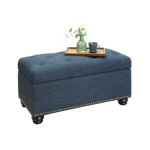 Convenience Concepts Designs4Comfort 7th Ave Storage Ottoman, Blue - 163050FBE