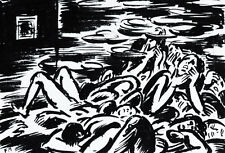 Frans Masereel: en la cámara de gas (holocausto) alrededor de 1945 2. guerra mundial, tinta china/encre
