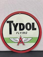 Tydol flying A gasoline garage man cave  racing oil vintage sign baked