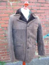 L 42R - Vintage 70's Mens Brown Sheepskin Suede Coat Shearling Jacket - L955