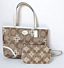 COACH Peyton Signature Clover Tote Purse and Wristlet Cute 2 PC Set Small