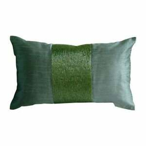 Green Art Silk 12x18 in Metallic Beaded Lumbar Oblong Pillow Cover-Green Center