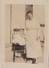 Old Vintage Antique Photograph Woman Standing By Baby in High Chair