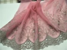 "EMBROIDERED SOFT NETTING~VICTORIAN LOOK~TAUPE/DUSTY PINK~7""w~BY THE YARD~DOLL's"
