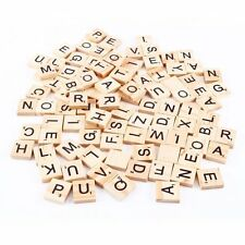 200pcs Wooden Alphabet Scrabble Tiles Black Letters & Numbers For Crafts Wood
