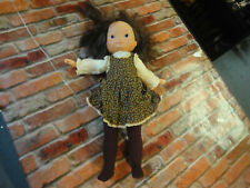 Fisher Price 1978 vintage baby doll dressed tights and dress brown hair