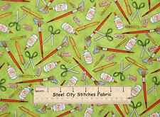 School Days Teacher Art Scissor Pen Glue Quilting Treasures Cotton Fabric YARD
