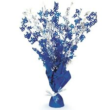 "16"" Happy 30th Birthday Blue Sparkle Foil Weight Table Centerpiece Decoration"