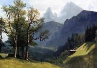 Handpainted art Oil painting Tyrolean Landscape mountain - Albert Bierstadt 36""