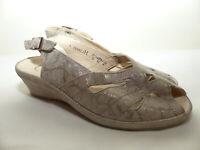 Neue Semler Damen Sandale Sandalette Pantolette Gr 37 (4) Taupe/Gold Lochmuster