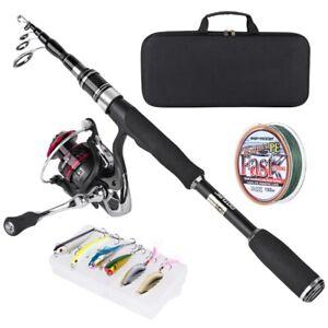 1.68M 1.98M 2.52M Telescopic Fishing Rod Combo Spinning Reel Line Lures Full Kit