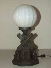 Antique 1920's Art Deco Figural Windmill Lamp w/White Pleated Round Globe Shade