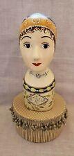 Vintage Hand Painted Plaster Hat/Wig Stand Mannequin Head Display