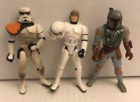 3pc Star Wars Luke TATOOINE STORMTROOPER Boba Fett 1996 POTF Loose lot