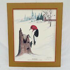 "Harry Duncan ASA "" Winter Woodpecker "" Signed Numbered Original Print - 1983"