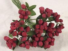 Stamens Burgundy Micro Beaded Berries Wedding Millinery Dolls Flower Crafts