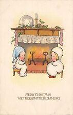 Christmas~Children~Back Flap PJ's~Fireplace~Light of Yule Log~Int'l Art Pub Co