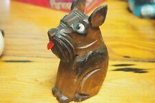 Vintage wooden Terrier Straw holder