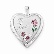 NEW 925 STERLING SILVER TE AMO WITH PINK ROSE HEART LOCKET 3.21g PENDANT .80""