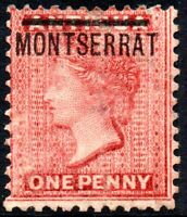 1883 Montserrat Sg 6 1d red Mounted Mint - Vertical Crease