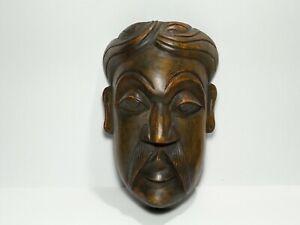 "Sri Lankan Kolam Mask Wood Carving Wall Art Home Decor Handmade Sculpture 9"""