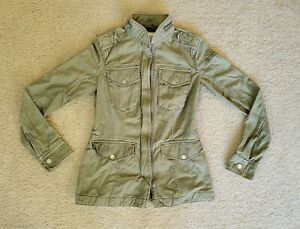 Abercrombie & Fitch Zip Jacket Womens Extra Small Olive Green Military Style XS