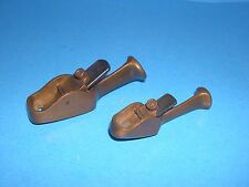 pair of showy tailed brass instrument maker's small wood planes w/ curved soles