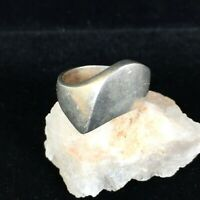 Vintage Sterling Silver Ring Modernist Band Abstract Size 7.5 Mexico Heavy 925