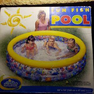 "Sealed Vintage Intex The Wet Set 66"" x 16"" Aquarium Pool Kiddie Child's"
