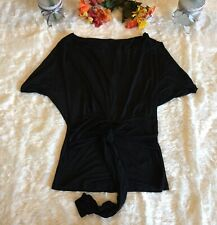 MNG Suit by Mango Wms Sz S Black Sleeveless Tie Waist Top Keyhole 60% Viscose