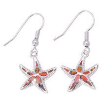 """Silver Dangle Earrings 1 3/8"""" Oh3561 Starfish Orange Fire Opal Women Jewelry Gem"""