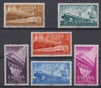ESPAÑA (1958) NUEVO SIN FIJASELLOS MNH SPAIN - EDIFIL 1232/37 Sc# 887/92 TRENES