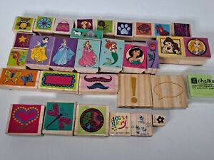 Girls Rubber Stamp Mixed Lot Of 31 Kid Craft Princess Girly Hearts Flowers