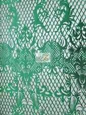 WICKED CHECKERED DRESS LACE FABRIC - Emerald Green - BY THE YARD BRIDAL FASHION