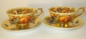 2 Vintage Aynsley Orchard Gold Cups & Saucers VGC