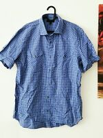 BANANA REPUBLIC Herren Kurzarm Hemd Druckknopf Gr. L blau Karo-Muster   ##705