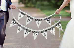 Just married black and white wedding banner wedding decoration