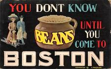 BEANS BOSTON MASSACHUSETTS TOURISM COMIC POSTCARD 1911