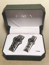 Pair of Geneva Watches Men's & Women Wristwatch Classic Collection New Batteries