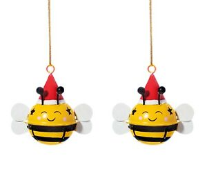 Sass & Belle Bee Yellow Bell Bauble Hanging Decoration Xmas Christmas Tree x2