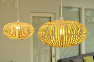 Handmade Bamboo Pendant Ceiling Lampshade, Ellipsoid Shape, Natural Brown L014D4