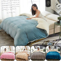 Winter Thick Sherpa Fleece Flannel Duvet Cover Thermal Warm Bedding Quilt Cover