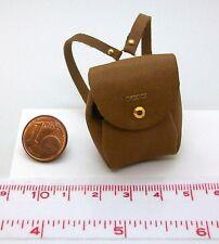 4309# Brauner Miniatur Rucksack aus Leder - Puppenhaus - Puppenstube - M 1zu12