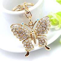 Quality Rhinestone Butterfly Jewelry Keychain Women Key Holder Chain Ring