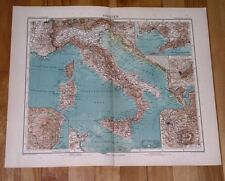 1908 ORIGINAL ANTIQUE MAP OF ITALY TUSCANY PIEDMONT LOMBARDY SICILY ROME