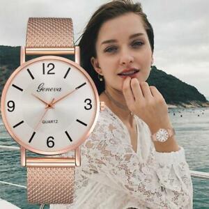 Women Stainless Steel Ultrathin Mesh Band Quartz Wrist Watch Simple Number Chic